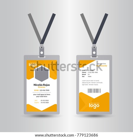 Creative Simple Yellow Id Card Design Vector Template