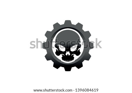creative skull gear icon logo
