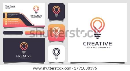 creative Smart bulb lamp logo icon and business card design . lamp Logo Design Colorful . Idea creative light bulb logo . Bulb digital logo technology Idea