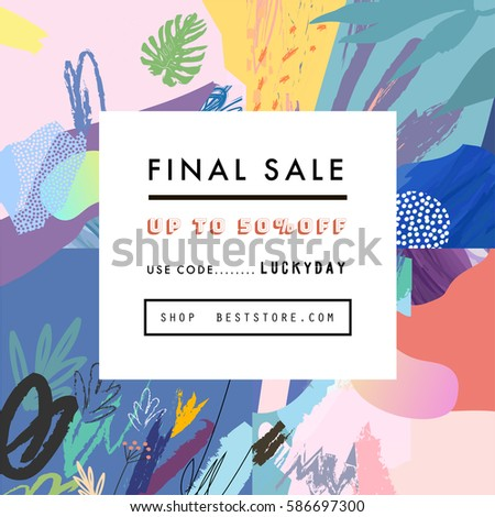 Creative Social Media Sale header or banner with discount offer. Design for seasonal  clearance. It can be used in advertising, web design, graphic design.