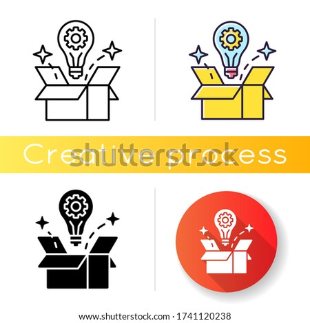 Creative solution icon. Idea generation. Smart innovative thought. Solution for project. Solve logical problem. Light bulb in box. Linear black and RGB color styles. Isolated vector illustrations ストックフォト ©