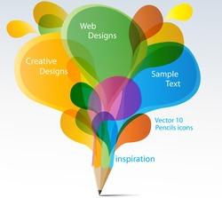Creative splash pencil with colorful speech bubbles vector.