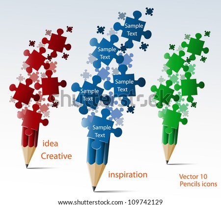 Creative splash pencil with puzzles illustration vector.