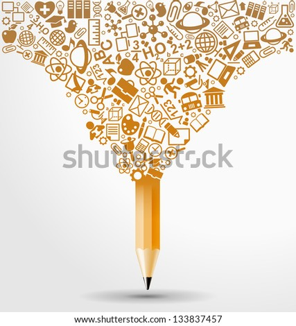 creative splash pencil with school icons set illustration. concept learning. the study of science. this work - eps10 vector file, contain transparent elements and mesh gradients