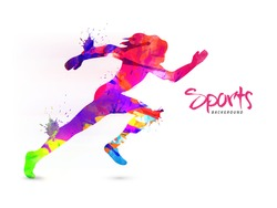 Creative Sports Background with abstract colorful illustration of a Female Runner, Can be used as Poster, Banner or Flyer design.