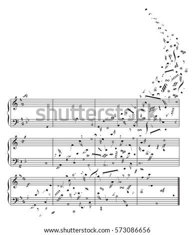 Creative stave fond. Elements of pop artwork musicnotes. Black ink hand drawn icons in artistic retro style. View closeup with space for sing text notation