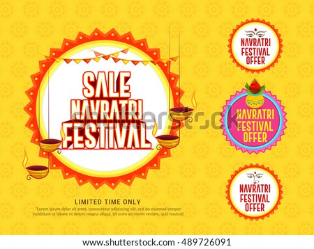Creative sticker or label of indian festival Navratri celebration,big navratri sale offers background.