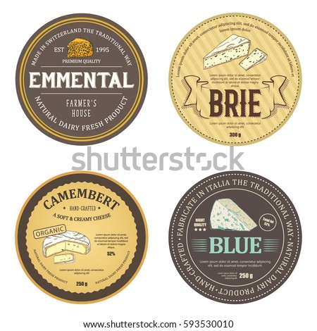 Creative stickers with outline cheese icons. Elegance emblems designed for emmental, brie, camembert and blue. Vector labels used for curd wrapper, advertising natural dairy products premium quality.