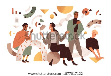 Creative studio team communicating and working together. Group of creators with abstract geometric shapes. Concept of creativity and cooperation. Vector illustration in flat style isolated on white