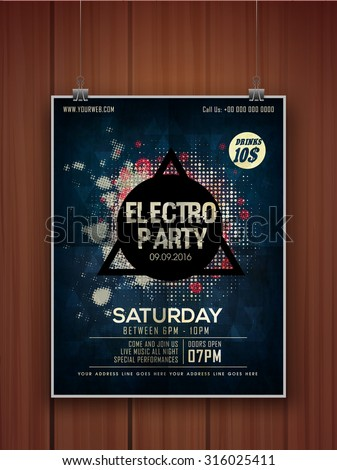Creative stylish hanging flyer, banner or template on wooden background for Electro Party celebration. #316025411