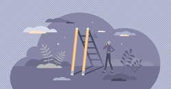 Creative success and stairway to work project achievement tiny person concept. Growth and development using innovative professional strategy vector illustration. Pencils as ladders or stairs in shadow