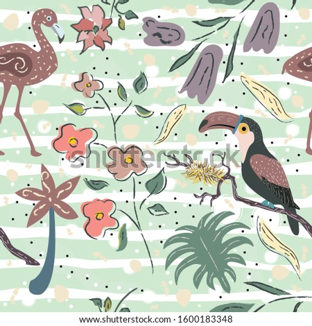 Creative Summer Pattern with exotic birds on background with exotic plants, palm and flowers. Vector Illustration