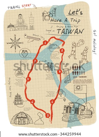 creative taiwan travel map on