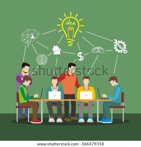 Creative team concept vector illustration. best use for web infographics. group of creative people working and share ideas.