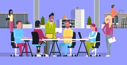 Creative Team Meeting In Coworking Office Casual Business People Group Brainstorming Together In Modern Coworkers Center Flat Vector Illustration