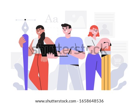 Creative team or design studio vector illustration. Man with laptop and two women with pencil and pen with anchor point. The concept of meet our team, about us for web design or ui.
