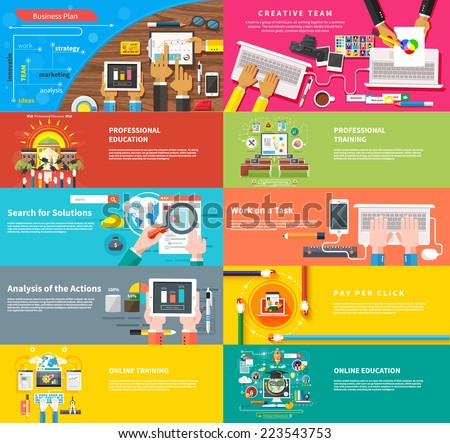 Creative team. Team working at desk. Business plan strategy with touchscreen presentation. Search for solutions. Businessman working on notebook with different task. Analysis actions. Pay per click