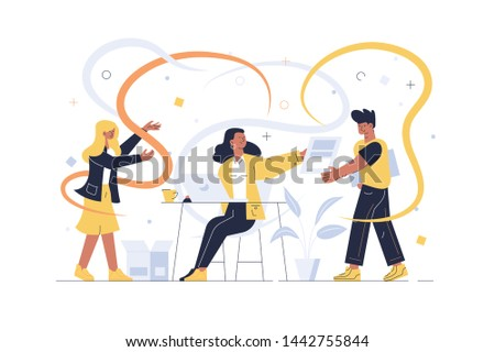 Creative team working together vector illustration. Designers creating new project flat style design. Man and women creators developing start-up in office. Teamwork concept