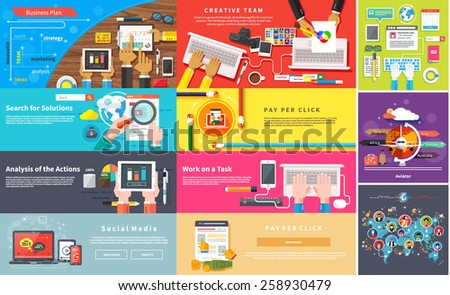 Creative team. Young design team working desk. Business plan strategy with touchscreen presentation. Search for solutions infographics. Businessman working on notebook. Analysis actions. Pay per click #258930479