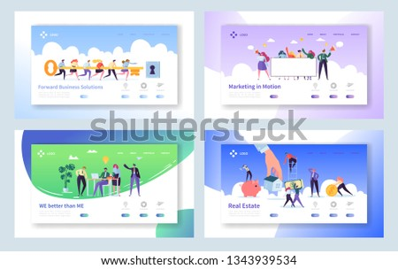 Creative Teamwork Idea Concept Landing Page. Business People Character Making Solution Set. Male and Female with Key Website or Web Page. Project Management Flat Cartoon Vector Illustration