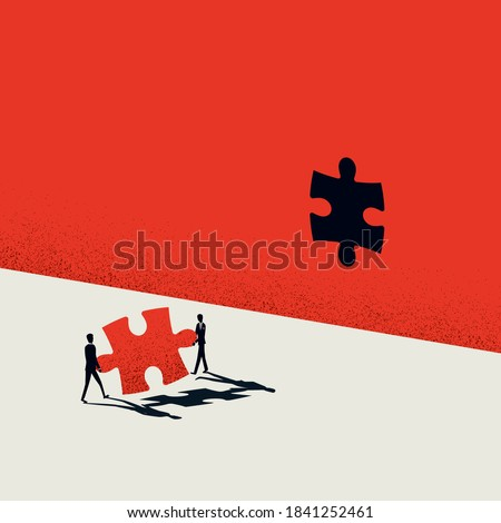 Creative teamwork in business vector concept. Creativity team cooperation, jigsaw puzzle symbol. Eps10 illustration.