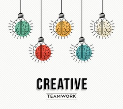 Creative teamwork modern design with human brains as colorful lamp light, success in business concept. EPS10 vector.