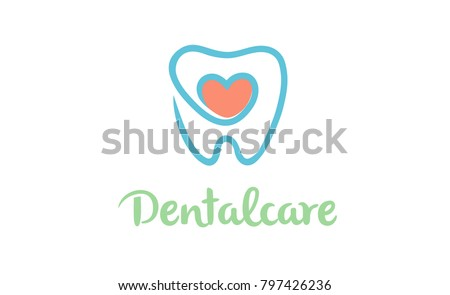 Creative Teeth Heart Inside Logo Design Symbol Illustration