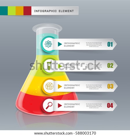 Creative template tube glass for infographic vector 4 options. Can be used for workflow layout, diagram, banner, web design. Presentation background.science concept.