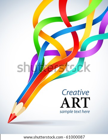 stock vector : creative template with pencil and coloured ribbon art concept vector illustration