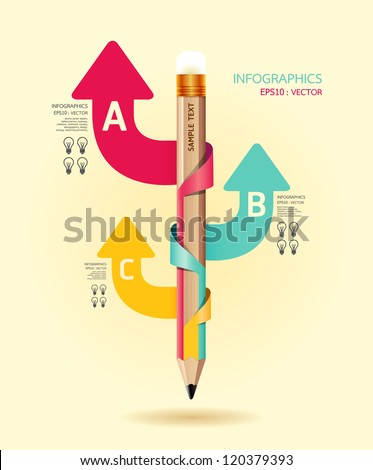 Creative Template with pencil ribbon arrow banner / can be used for infographics / banners / concept vector illustration