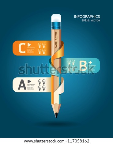Creative Template with pencil ribbon banner  / can be used for infographics / banners / concept vector illustration - stock vector