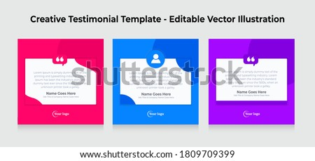 Creative Testimonial Templates - Editable Vector Illustration