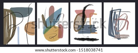 Creative texture with abstract brush strokes, freehand bright colors geometric elements, shapes. Aesthetic contemporary collage. Trendy set design