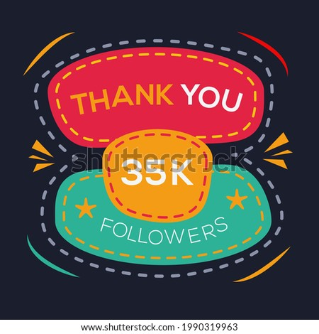 Creative Thank you (35k, 35000) followers celebration template design for social network and follower ,Vector illustration.