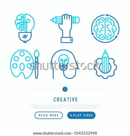 Creative thin line icons set: generation of idea, start up, brief, brainstorming, color palette, creative vision, genius. Modern vector illustration, web page template.