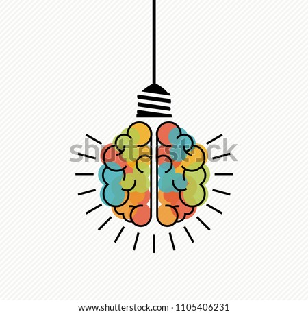 Creative thinking concept illustration of colorful human brain as electric light bulb for business solutions, brainstorming. EPS10 vector.