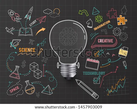 Creative thinking idea bulb , on paper black background ,vector illustration ,Editable stroke