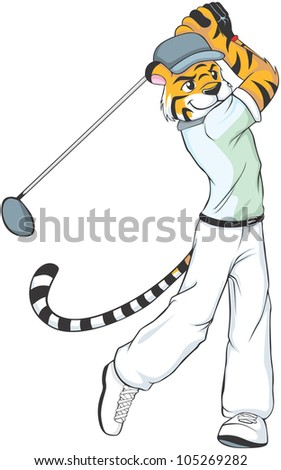 Creative Tiger Golf Illustration as a professional golfer