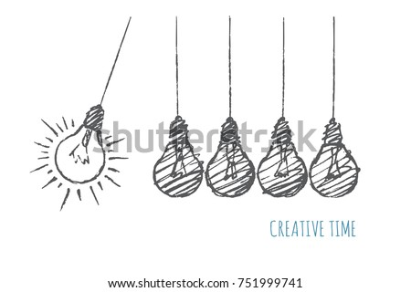Creative time concept. Five hanging bulbs. Perpetual motion.Vector business hand drawn sketch…