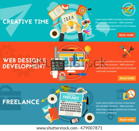 Creative Time, Freelance and Webdesign and Development concept banners. Horizontal composition, vector illustrations