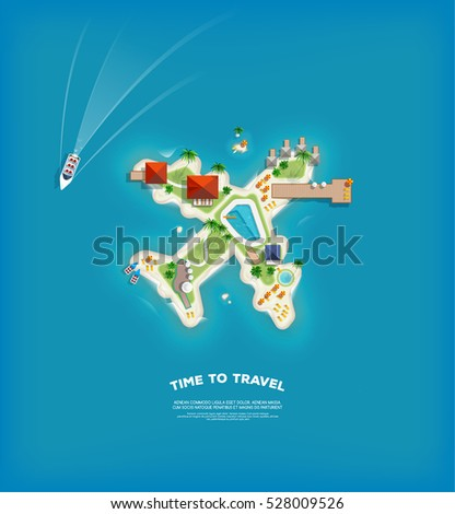 Creative Travel and tourism poster with Top view of the Island in the form of a aircraft.