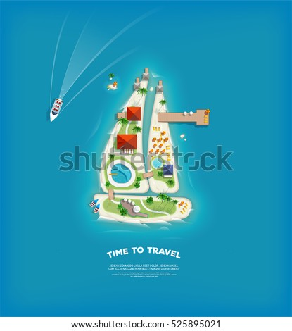 Creative Travel and tourism poster with Top view of the Island in the form of a sailing ship.