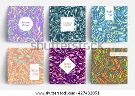 Creative trendy cards set. Wavy stripes, glitch texture. Eps10 vector template.