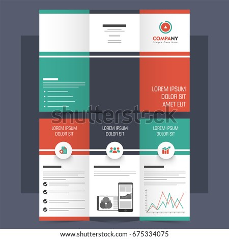 Creative Tri-Fold Brochure, Leaflet, Template design for Business with front and back page view.