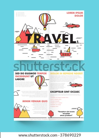 two page brochure template or flyer design for tour and travel