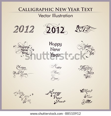 Creative typographic or typography set in twelve artistic style for happy new year