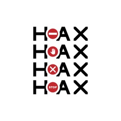 Creative Typography of stop Hoax, fake news, hoax symbol vector illustration