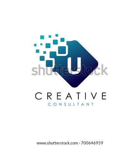 creative u data logo  u letter