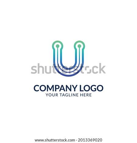 Creative U Letter Logo Template. U Letter Technology Logo Design. Stok fotoğraf ©