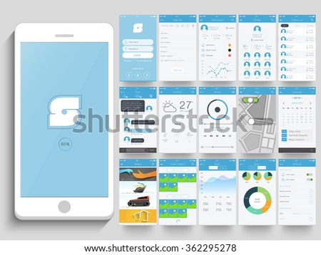 Creative UI, UX, GUI layout for e-commerce, responsive website and mobile apps including Login, Sign-up, Dashboard, Profile, Chat, Weather, Music, Calendar, Video Gallery, Stats and Setting screen.